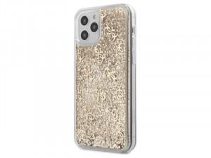 Apple iPhone 12 Pro Max Guess Liquid Glitter Arany mintás szilikon tok