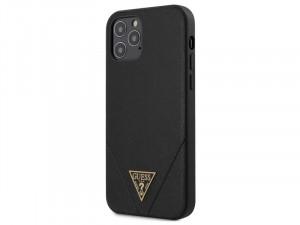 Apple iPhone 12 Pro Max Guess Fekete színű kemény vegán bőr hátlapos tok