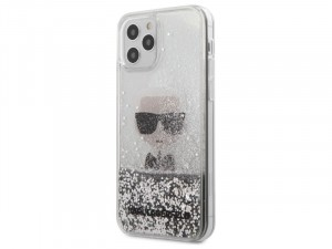 Apple iPhone 12 mini Karl Lagerfeld Liquid Glitter Ezüst mintás tok
