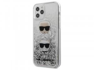 Apple iPhone 12 Pro Max Karl Lagerfeld Liquid Glitter Ezüst, mintás tok