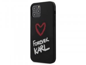 Apple iPhone 12 mini Karl Lagerfeld Fekete, fehér feliratos szilikon tok