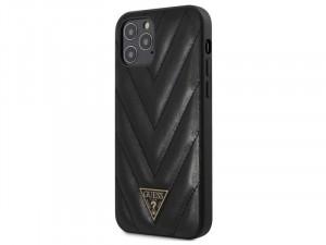 Apple iPhone 12 Guess Fekete színű kemény vegán bőr tok