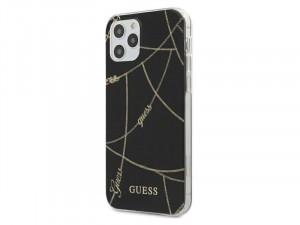 Apple iPhone 12 Pro Max Guess Fekete, Arany lánc mintájú tok