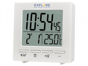 Explore Scientific RC óra beltéri hőmérséklettel, fehér