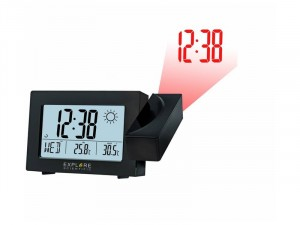 Explore Scientific RC digitális kivetítős ébresztőóra időjáráselőrejelzéssel, fekete