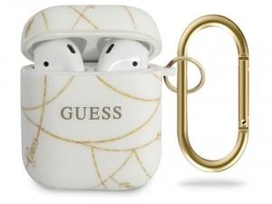 Apple Airpods Guess, Arany lánc mintás Fehér Szilikon tok