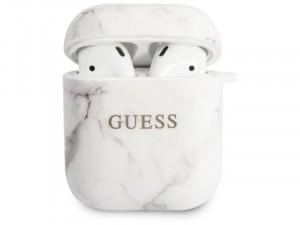 Apple Airpods Guess, Márvány szerű Guess feliratos Fehér Szilikon tok