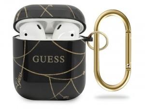 Apple Airpods Guess, Arany lánc mintás Fekete TPU tok