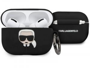 Apple Airpods Pro Karl Lagerfeld, Karl Lagerfeld fej mintás Fekete Szilikon tok