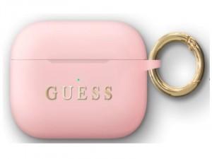 Apple Airpods Pro Guess, Arany Guess Feliratos Rózsaszín Szilikon tok