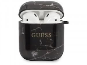 Apple Airpods Guess, Guess Márvány mintás Fekete TPU tok