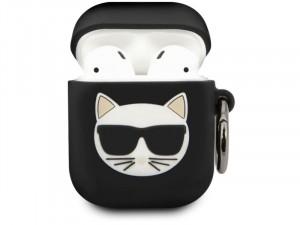 Apple Airpods Karl Lagerfeld, Macskafej mintás Fekete Szilikon tok
