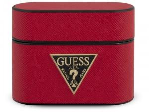 Apple Airpods Pro Guess, Guess Arany logós Piros Polikarbonát - Környezetbarát bőr tok