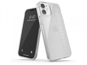 Apple iPhone 12 mini Superdry Átlátszó Ezüst feliratos TPU-PC tok