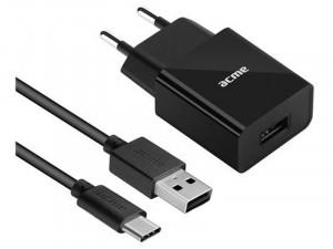 Acme CH212 USB Fali töltő 12W, 2.4A, Type C kábellel