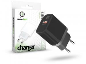Dreamtech Charger 20W (QC3.0) Type C - USB-A Fekete hálózati gyors töltő adapter
