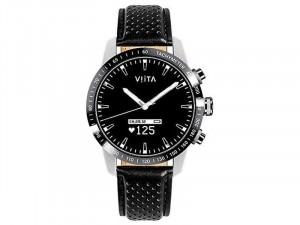 Viita Hybrid HRV Tachymeter 45mm Ezüst-Fekete Bőr szíjas Okosóra
