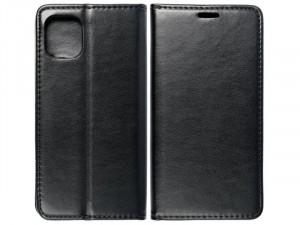 Huawei Y6p Fekete, Bőr Flip tok
