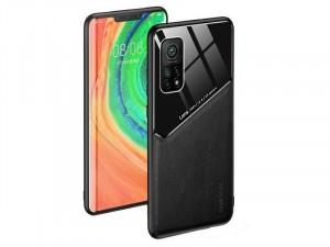 Samsung Galaxy S20 FE Szilikon, Bőr és Plexi Fekete tok