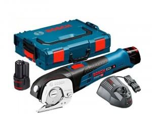 BOSCH GUS 12V-300 Professional Akkus univerzális olló, L-BOXX, 2x 2Ah akku, gyorstöltő