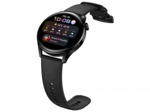 Huawei Watch 3 SPORT 46mm Rozsdamentes Acél Fekete Okosóra szilikon szíjjal