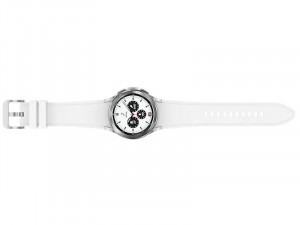Samsung Galaxy Watch 4 Classic R885 LTE Rozsdamentes Acél házas 42mm Ezüst Okosóra, Fehér sportszíjjal