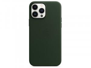 Apple iPhone 13 Pro Max Eredeti Apple MagSafe-rögzítésű Sötét Mammutfenyőzöld Bőr tok